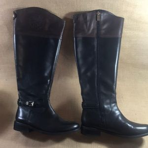 Vince Camuto Black/Dark Wood Boots 7M Wide Calf